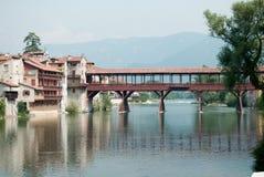 De houten brug van Bassano del grappa, historicus voor de weerstand van de tweede oorlog royalty-vrije stock foto's