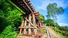 De houten de geschiedeniswereldoorlog ii van de Doodsspoorweg in rivierkwai, kanch Stock Afbeeldingen