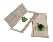 De houten Deuren en Deurknoppen van het Kristal Royalty-vrije Stock Afbeelding