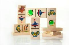 De houten domino's van kinderen Stock Fotografie