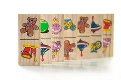De houten domino's van kinderen Royalty-vrije Stock Afbeeldingen