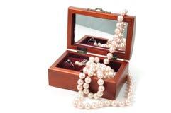 De houten doos van juwelen Stock Foto