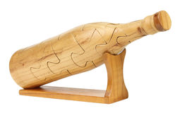 De houten Fles van het Raadsel Stock Foto's
