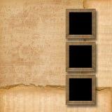 De houten frames van Grunge op de muzikale achtergrond Stock Afbeelding