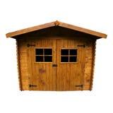 De houten (Geïsoleerdee) Loods van de Tuin royalty-vrije stock afbeeldingen