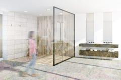 De houten gestemde hoek van de tegelsbadkamers Royalty-vrije Stock Fotografie