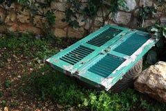 De houten Groene Deur schilderde Groen Royalty-vrije Stock Foto's
