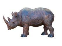 De houten hand van de kunst - gemaakte geïsoleerdel rinoceros stock afbeeldingen