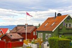 De houten huizen van Trondheim Stock Foto