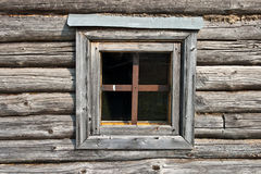 De houten hut van het venster Stock Foto