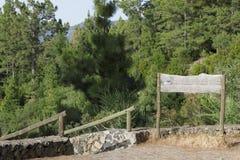 De houten index in bos Royalty-vrije Stock Foto