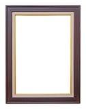 De houten kader moderne wijnoogst isoleerde witte achtergrond Stock Afbeeldingen