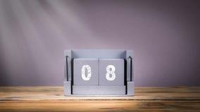 8 de houten kalender van December in motie stock video