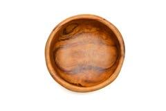De houten kom hoogste mening solated Stock Fotografie