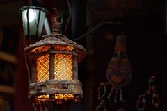 De houten lamp van het traliewerk Royalty-vrije Stock Foto