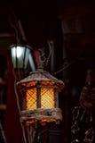 De houten lamp van het traliewerk Stock Foto's