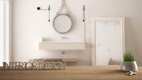 De houten lijst, het bureau of de plank met ingemaakt gras planten, huisvesten sleutels en 3D brieven makend tot de woorden binne Stock Fotografie