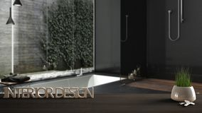 De houten lijst, het bureau of de plank met ingemaakt gras planten, huisvesten sleutels en 3D brieven makend tot de woorden binne Royalty-vrije Stock Afbeelding