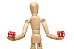 De houten marionet met dobbelt Stock Fotografie