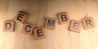 De houten markeringen van december - het 3D teruggeven Royalty-vrije Stock Foto