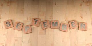 De houten markeringen van september - het 3D teruggeven Royalty-vrije Stock Foto