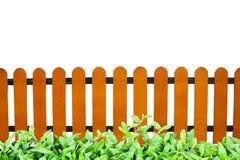 De houten omheining en het gras isoleren Royalty-vrije Stock Fotografie
