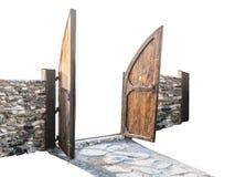 De houten omheiningspoort is open met een schuine die mening, op witte achtergrond wordt geïsoleerd Stock Foto's