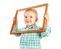 De houten omlijsting van de jong geitjegreep op witte achtergrond Royalty-vrije Stock Foto