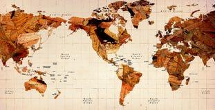 De houten Oude Kaart van de Wereld Stock Afbeeldingen