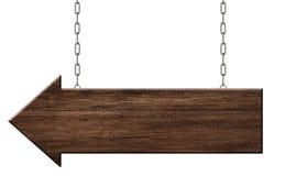 De houten pijl voorziet gemaakt van het donkere houten hangen op kettingen van wegwijzers royalty-vrije illustratie