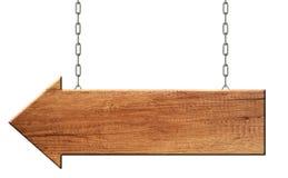 De houten pijl voorziet gemaakt van het natuurlijke houten hangen op kettingen van wegwijzers royalty-vrije illustratie