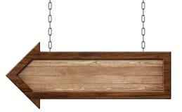 De houten pijl voorziet gemaakt van natuurlijk hout en met het donkere kader hangen op kettingen van wegwijzers stock foto's