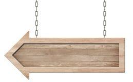 De houten pijl voorziet gemaakt van natuurlijk hout en met het heldere kader hangen op kettingen van wegwijzers stock afbeeldingen