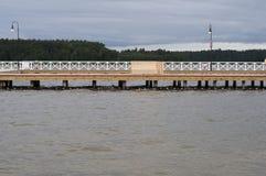 De houten pijler in Augustow royalty-vrije stock foto's