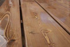 De houten planken in de regen Royalty-vrije Stock Afbeelding