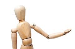 De houten pop kijkt gebaar Royalty-vrije Stock Afbeeldingen