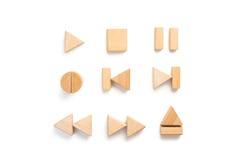 De houten reeks van het spelerpictogram van verschillende media stock foto's