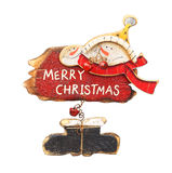 De houten retro ornamenten van Kerstmis, Stock Afbeeldingen