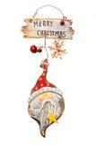 De houten retro ornamenten van Kerstmis, Stock Fotografie
