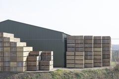 De houten spaanderskorrels hakten houten logboeken en stapelden houten pallets voor biomassabrandstof bij zaagmolen stock afbeelding