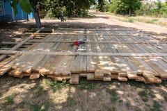 De houten stichting van de bekistings concrete strook royalty-vrije stock afbeelding