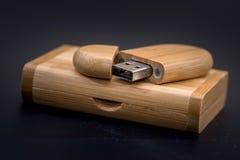 De houten stok van het usbgeheugen royalty-vrije stock fotografie