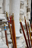 De houten stokken van Romeiros Stock Afbeelding