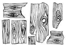 De houten tekening van de textuurplanken gebroken stukken geïsoleerde hand stock illustratie