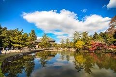 De houten toren van aan-ji-Tempel in Nara Japan is grootste te Stock Afbeeldingen
