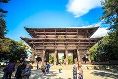 De houten toren van aan-ji-Tempel in Nara Japan is grootste te Stock Foto
