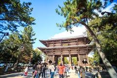 De houten toren van aan-ji-Tempel in Nara Japan is grootste te Royalty-vrije Stock Foto's