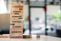 De houten torenbouw met tekst; Synergisme, Groepswerk, Strategie, Planning, Marketing en Beheer Bedrijfs concepten royalty-vrije stock foto