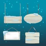 De houten Vector van de de Sneeuwraad van Tekenkerstmis royalty-vrije stock fotografie