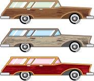 De houten vector van de versieringsstationcar Stock Afbeelding
